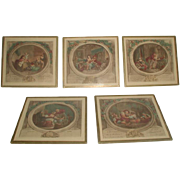 French Mini Engravings Set 5 Framed 19th Century