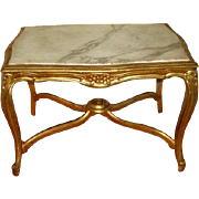 Marble Coffee Table Italy 19th Century Carved Gilt