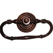 French Towel Rack C.1850 Walnut Hand Carved Large