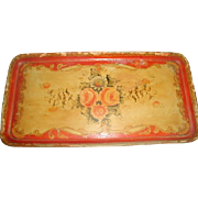 Papier Mache Tray Early 1900's Vibrant Hand Painting