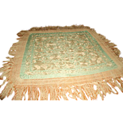 Silk Piano Throw Italy 19th C Silk Macrame Fringe
