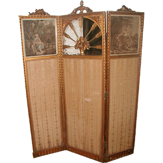 French Gilt Screen Mirror Lithographs Original Fabric 19th Century