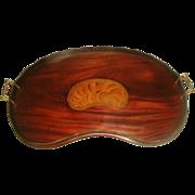 English Walnut Tray 19th Century Inlaid Kidney Galley