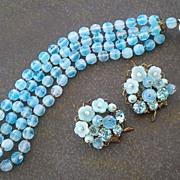 Gorgeous Glowing Blue Glass Beaded Hattie Carnegie Bracelet & Earrings