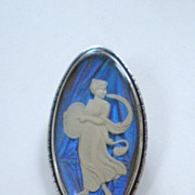 English Art Deco Sterling Silver Sulphide Butterfly Wing Goddess Brooch/Pin