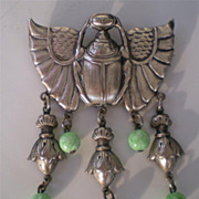 Vintage Egyptian Revival Scarab & Peking Glass Dangle Brooch