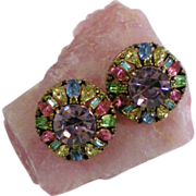 Large Hollycraft Multicolored Button Clip Earrings