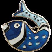 David Andersen Norway Sterling Silver Blue Enameled Fish Pin Brooch