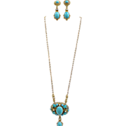 Vintage West Germany Brass Filigree Molded Turquoise Glass Necklace & Earrings