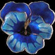 Large Vintage David Andersen Norway Sterling Silver Blue Enameled Pansy Pin