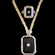 Art Deco 14K WG White Gold Matching Filigree & Onyx Ring & Pendant