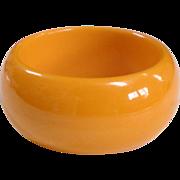 Large Chunky Vintage Bright Egg Yolk Bakelite Bangle Bracelet