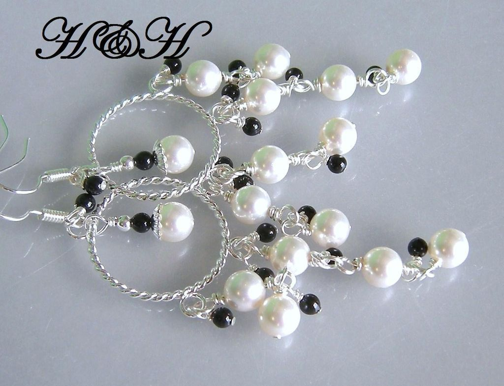 Chandelier Earrings With White and Black Swarovski Pearls