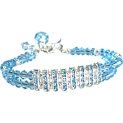 Double Strand Swarovski Crystal Tennis Style Bracelet In Aquamarine
