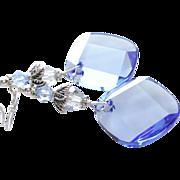 Metro Cut Swarovski Crystal Statement Earrings In Light Sapphire Blue