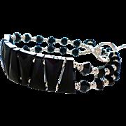Swarovski Crystal Flexible Cuff Style Bracelet In Jet Black