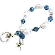 Swarovski Crystal and Swarovski Pearl Bracelet In Montana Blue and White