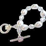 Swarovski Crystal and Swarovski Pearl Bracelet In Crystal Silver Shade and White
