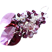 Swarovski Crystal Heart Cluster Earrings In Crystal Lilac Shadow With Berry Pearls