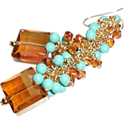 Crystal Copper Swarovski Crystal Long Dangle Earrings