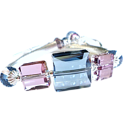 Swarovski Crystal Sterling Silver Bangle Tube Bracelet