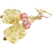 SOLD Pastel Yellow Lampwork Earrings With Swarovski Crystals