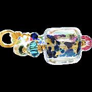 Venetian Dichroic Glass Bead Bangle Tube Bracelet With 24KT Gold Foil
