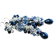 Shades Of Blue Swarovski Crystal and Pearl Long Cluster Earrings