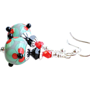 SOLD Lampwork Earrings in Soft Teal and Black With Red