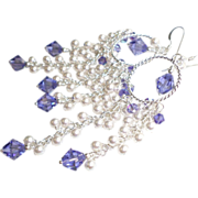 White Swarovski Pearl Chandelier Earrings With Tanzanite Crystals