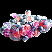 Borosilicate Glass Lampwork Bracelet with Swarovski Crystals