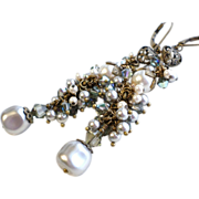 Gray and Cream Swarovski Crystal and Pearl Long Cluster Earrings