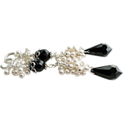 Black and White Swarovski Crystal and Swarovski Simulated Pearl Long Cluster Earrings