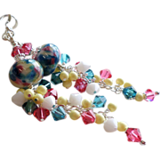 SOLD Multi Colored Lampwork Long Earrings With Swarovski Crystals - Red Tag Sale Item