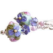 SOLD Pink and Purple Floral Lampwork Earrings With Swarovski Crystals
