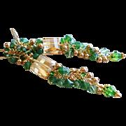 Swarovski Crystal Shades of Green Long Dangle Earrings