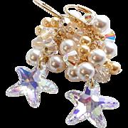 Swarovski Crystal AB Starfish Cluster Earrings