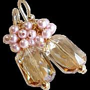 Emerald Cut Swarovski Crystal Pink and Beige Cluster Earrings