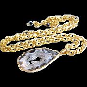 Natural Druzy Agate Pendant Necklace