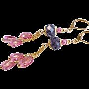 Pink and Purple Long Swarovski Crystal Chandelier Earrings