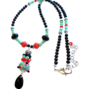 Lampwork Necklace With Swarovski Faux Crystal Pearls and More In Turquoise Green, Black and Re