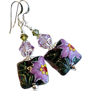 SOLD Purple and Green Floral Lampwork Short Earrings