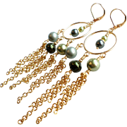 Shades Of Green Swarovski and Glass Faux Pearl Chandelier Hoop Earrings
