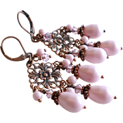 Copper Chandelier Earrings With Pastel Pink Swarovski Crystals and Faux Pearls