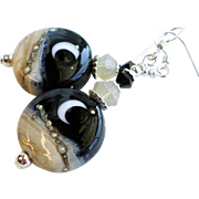 SOLD Moon and Night Sky Lampwork Earrings With Sterling Silver and Silver Brass Accents