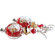 SOLD Red Silver and Gold Foiled Glass Swarovski Crystal Earrings