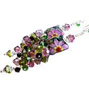 SOLD Floral Long Lampwork Earrings In Rose and Green