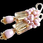 Golden Shadow Swarovski Crystal Earrings With Swarovski Pink Faux Pearl Clusters