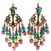 Multi Colored Swarovski Crystal And Glass Brass Chandelier Earrings