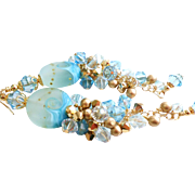 Beach Themed Long Lampwork Cluster Earrings In Shades of Aquamarine